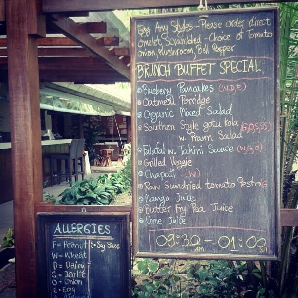 healthy menu at Samahita