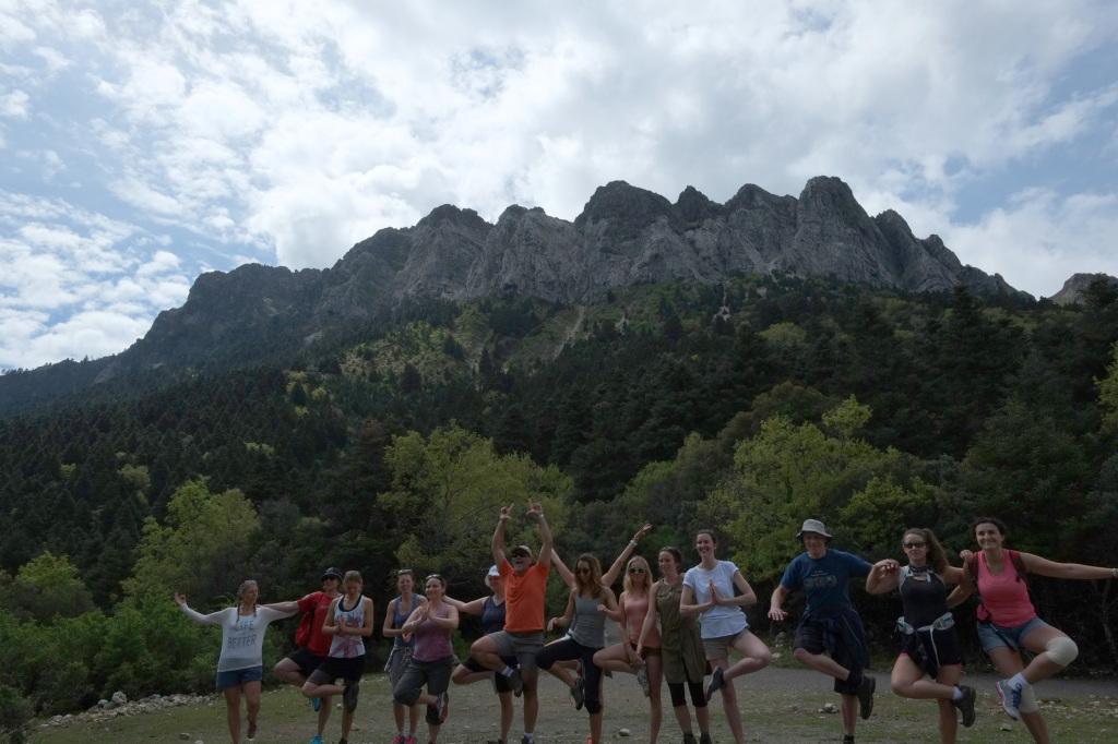 group photo yoga pose