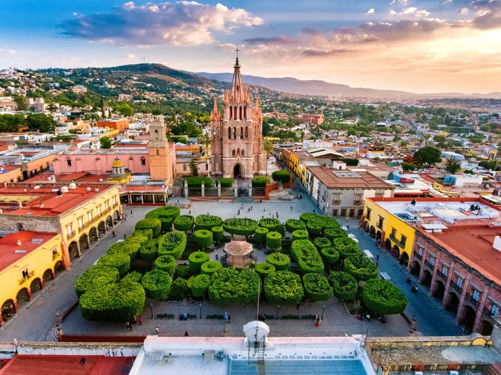 Aerial View of San Miguel de Allende in Mexico.